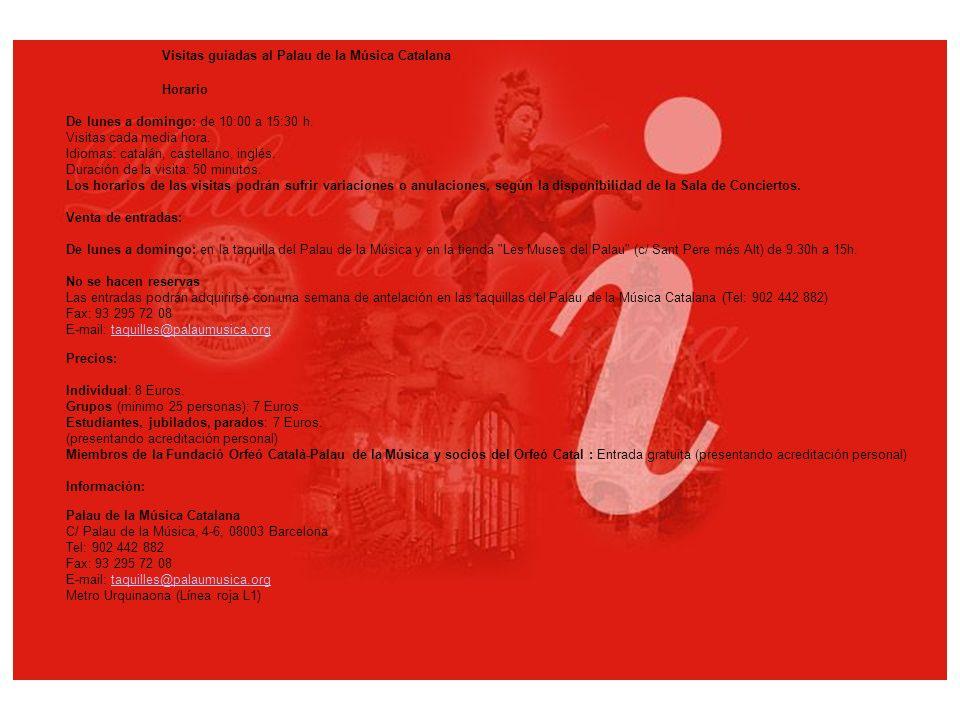 Palacio de la música catalana Vidrieras del segundo piso con la claraboya central Vista del segundo piso de la sala de conciertos Parte superior de la unión de les fachadas Sala Foyer en la planta baja Columnas del balcón principal de la sala Lluis Millet Antiguas taquillas con mosaicos de Lluís Bru Coronas del segundo piso de la Sala de Concierto