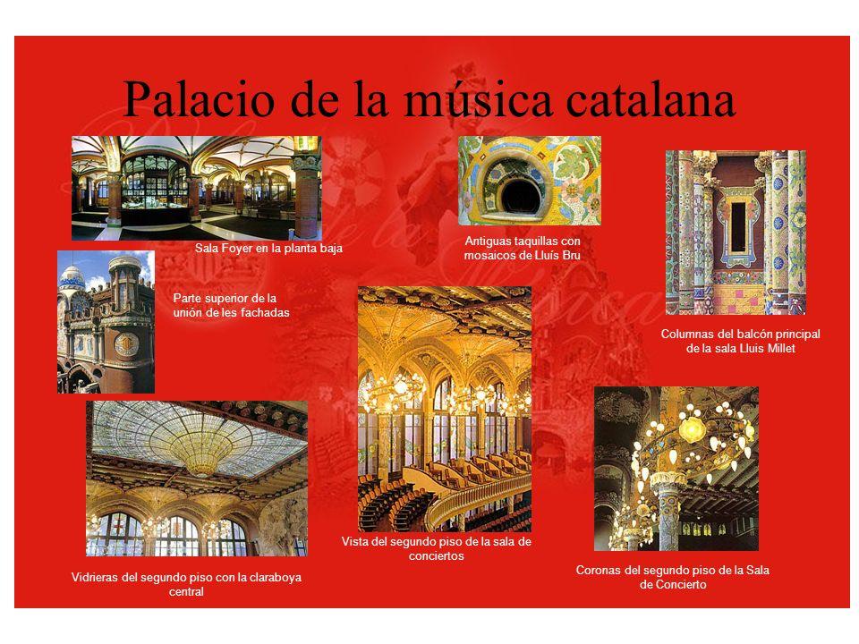 Palacio de la música catalana Vidrieras del segundo piso con la claraboya central Vista del segundo piso de la sala de conciertos Parte superior de la