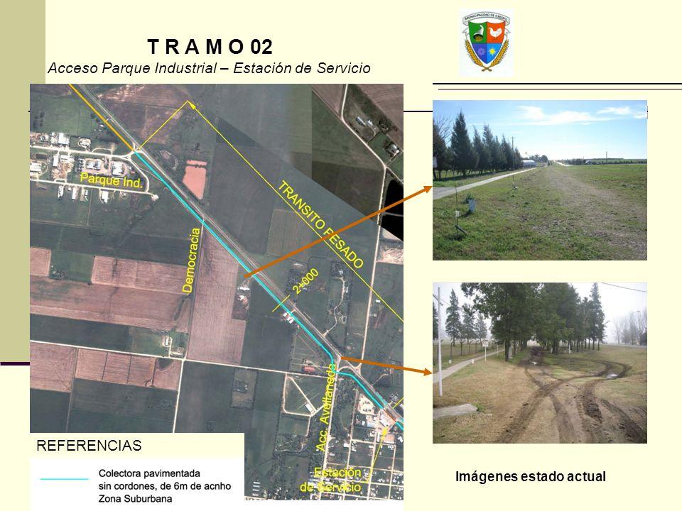 Imágenes estado actual REFERENCIAS T R A M O 02 Acceso Parque Industrial – Estación de Servicio