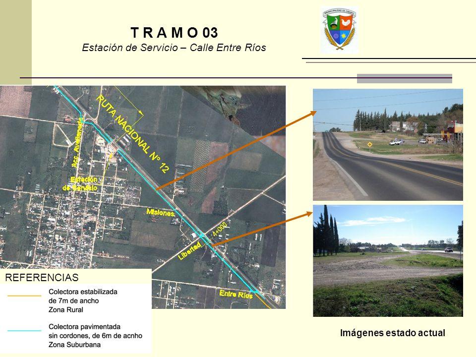 Imágenes estado actual REFERENCIAS T R A M O 03 Estación de Servicio – Calle Entre Ríos