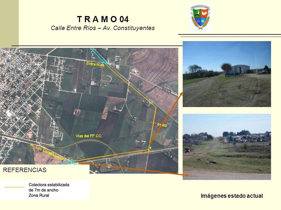 Imágenes estado actual REFERENCIAS T R A M O 04 Calle Entre Ríos – Av. Constituyentes