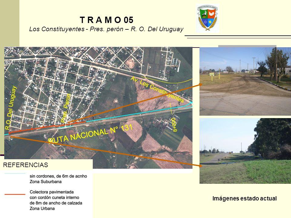 REFERENCIAS Imágenes estado actual T R A M O 05 Los Constituyentes - Pres. perón – R. O. Del Uruguay