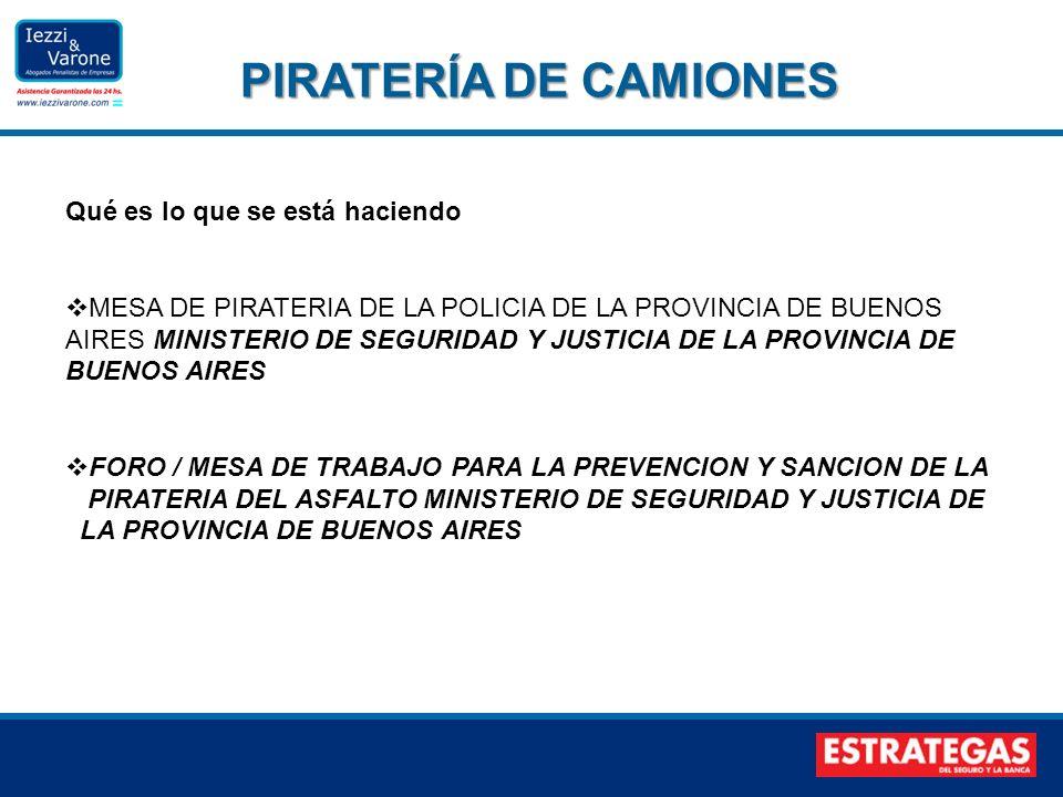 PIRATERÍA DE CAMIONES PIRATERÍA DE CAMIONES Qué es lo que se está haciendo MESA DE PIRATERIA DE LA POLICIA DE LA PROVINCIA DE BUENOS AIRES MINISTERIO