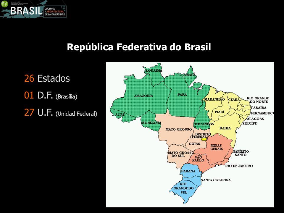 República Federativa do Brasil 26 Estados 01 D.F. (Brasília) 27 U.F. (Unidad Federal)