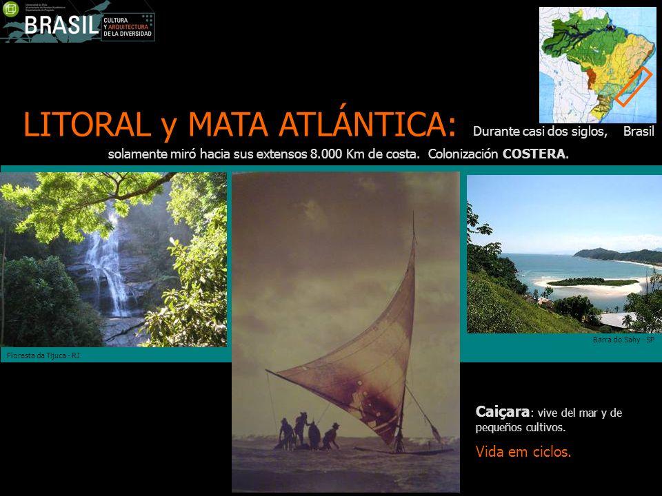 LITORAL y MATA ATLÁNTICA: Durante casi dos siglos, Brasil solamente miró hacia sus extensos 8.000 Km de costa. Colonización COSTERA. Barra do Sahy - S