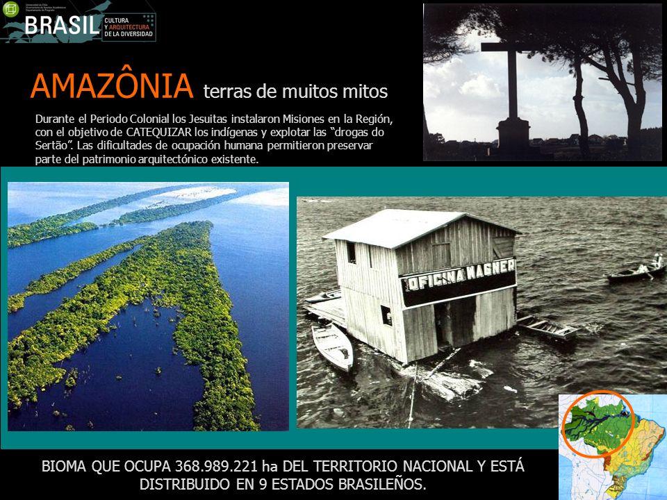 AMAZÔNIA terras de muitos mitos BIOMA QUE OCUPA 368.989.221 ha DEL TERRITORIO NACIONAL Y ESTÁ DISTRIBUIDO EN 9 ESTADOS BRASILEÑOS. Durante el Periodo