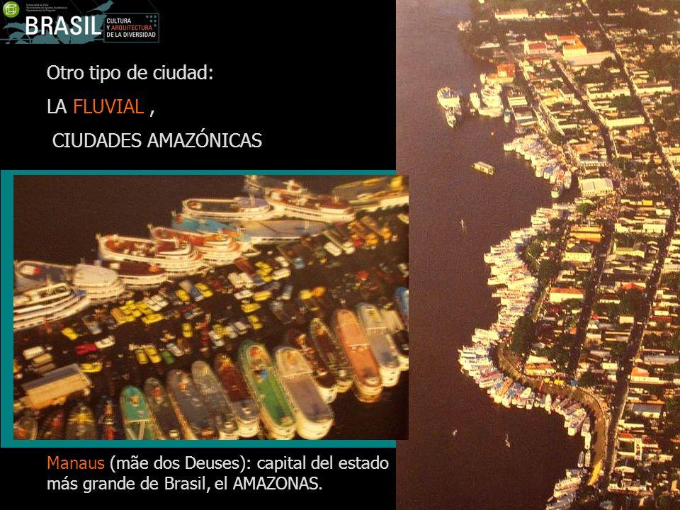 Otro tipo de ciudad: LA FLUVIAL, CIUDADES AMAZÓNICAS Manaus (mãe dos Deuses): capital del estado más grande de Brasil, el AMAZONAS.