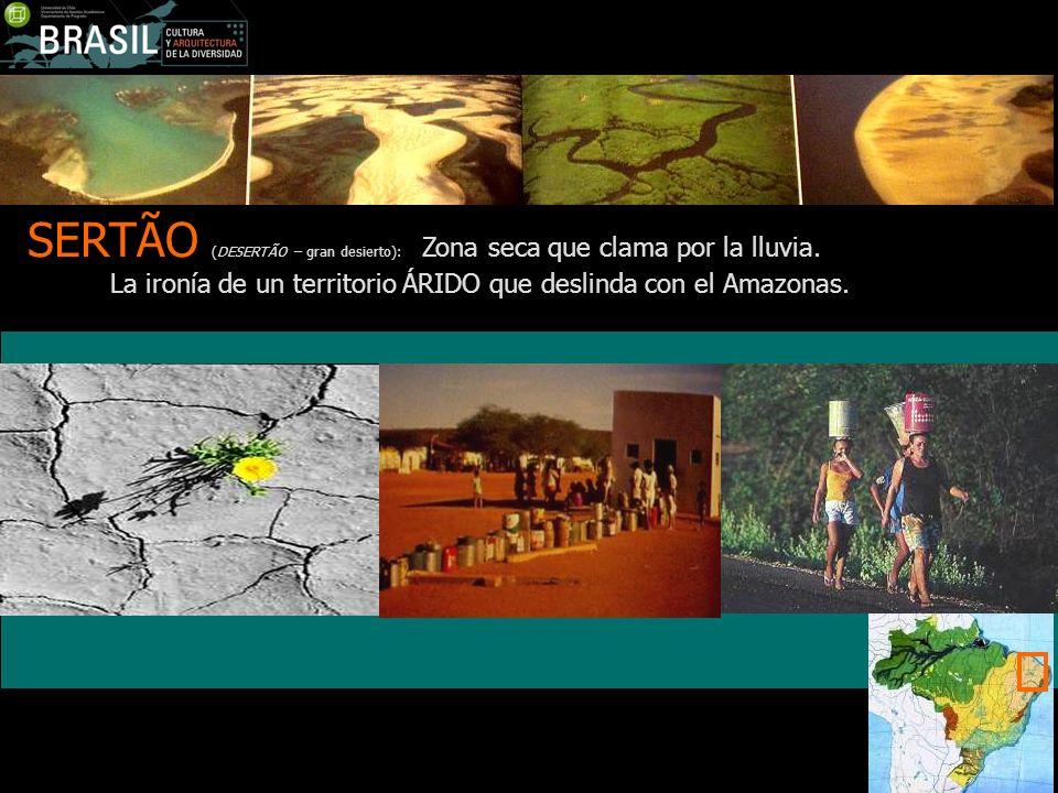 SERTÃO (DESERTÃO – gran desierto): Zona seca que clama por la lluvia. La ironía de un territorio ÁRIDO que deslinda con el Amazonas.