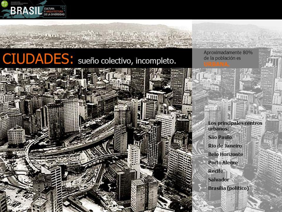 CIUDADES: sueño colectivo, incompleto. Los principales centros urbanos: São Paulo Rio de Janeiro Belo Horizonte Porto Alegre Recife Salvador Brasília