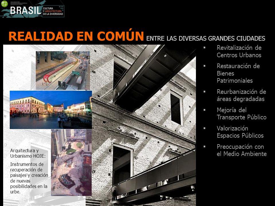 REALIDAD EN COMÚN ENTRE LAS DIVERSAS GRANDES CIUDADES Revitalización de Centros Urbanos Restauración de Bienes Patrimoniales Reurbanización de áreas d