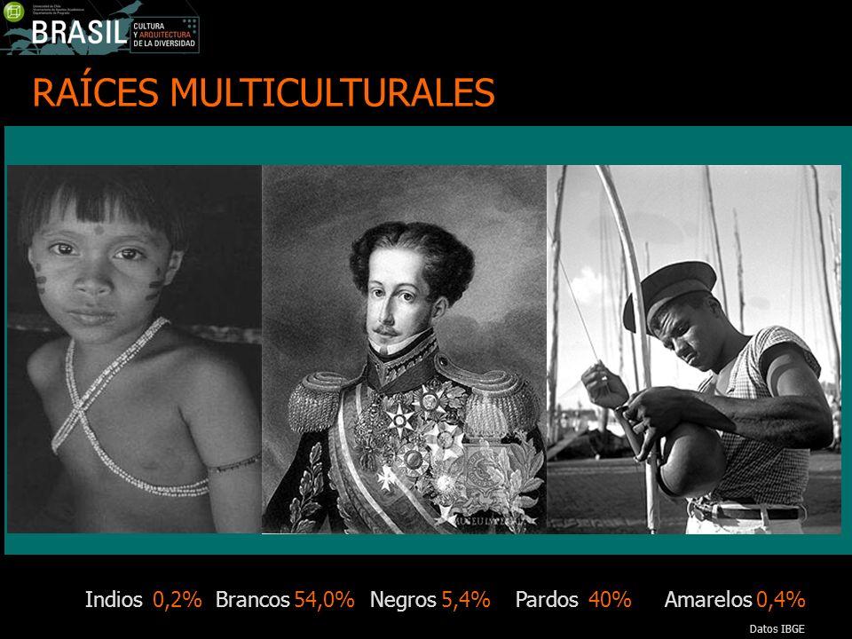 RAÍCES MULTICULTURALES Indios Brancos Negros Pardos Amarelos0,2% 40%5,4%54,0%0,4% Datos IBGE