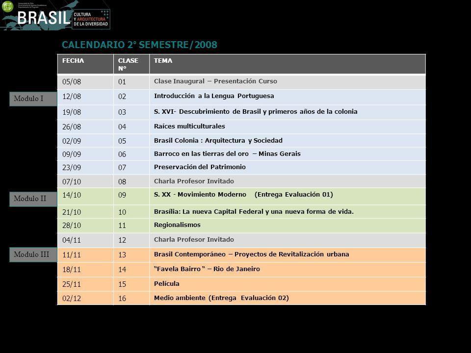 FECHACLASE N° TEMA 05/0801 Clase Inaugural – Presentación Curso 12/0802 Introducción a la Lengua Portuguesa 19/0803 S. XVI- Descubrimiento de Brasil y