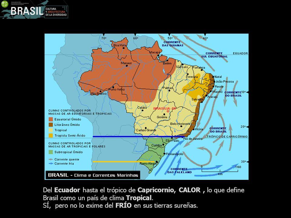 Del Ecuador hasta el trópico de Capricornio, CALOR, lo que define Brasil como un país de clima Tropical. SÍ, pero no lo exime del FRÍO en sus tierras