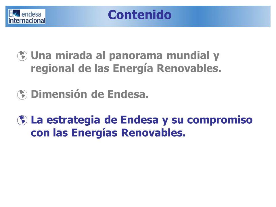 Una mirada al panorama mundial y regional de las Energía Renovables. Dimensión de Endesa. La estrategia de Endesa y su compromiso con las Energías Ren