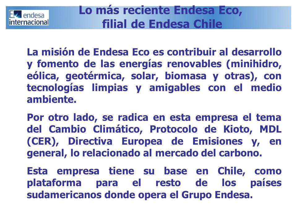 La misión de Endesa Eco es contribuir al desarrollo y fomento de las energías renovables (minihidro, eólica, geotérmica, solar, biomasa y otras), con