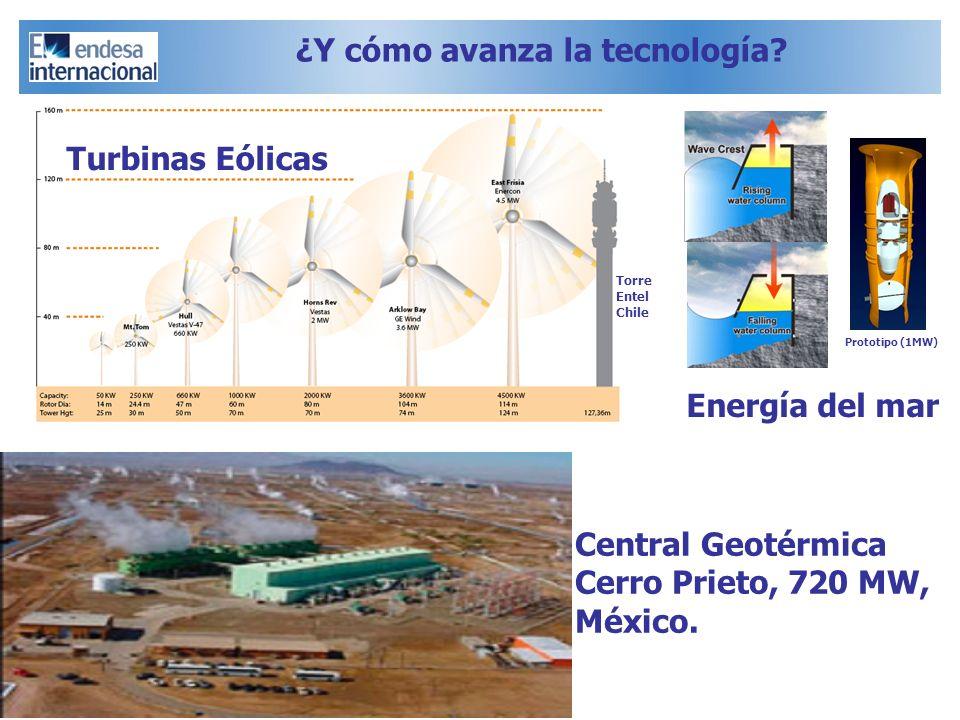 ¿Y cómo avanza la tecnología? Central Geotérmica Cerro Prieto, 720 MW, México. Energía del mar Turbinas Eólicas Torre Entel Chile Prototipo (1MW)