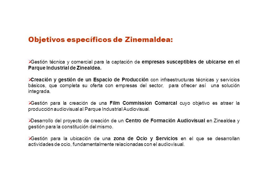 Objetivos específicos de Zinemaldea: Gestión técnica y comercial para la captación de empresas susceptibles de ubicarse en el Parque Industrial de Zinealdea..