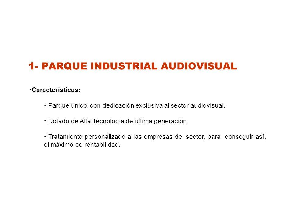 1- PARQUE INDUSTRIAL AUDIOVISUAL Características: Parque único, con dedicación exclusiva al sector audiovisual.