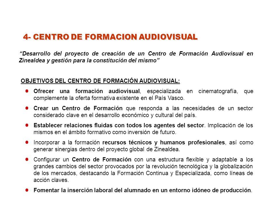 4- CENTRO DE FORMACION AUDIOVISUAL Desarrollo del proyecto de creación de un Centro de Formación Audiovisual en Zinealdea y gestión para la constitución del mismo OBJETIVOS DEL CENTRO DE FORMACIÓN AUDIOVISUAL: Ofrecer una formación audiovisual, especializada en cinematografía, que complemente la oferta formativa existente en el País Vasco.