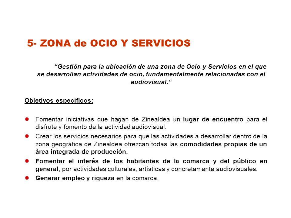 5- ZONA de OCIO Y SERVICIOS Gestión para la ubicación de una zona de Ocio y Servicios en el que se desarrollan actividades de ocio, fundamentalmente relacionadas con el audiovisual.