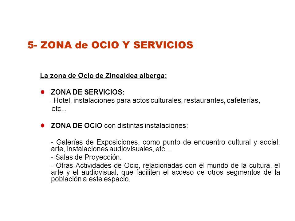 5- ZONA de OCIO Y SERVICIOS La zona de Ocio de Zinealdea alberga: ZONA DE SERVICIOS: -Hotel, instalaciones para actos culturales, restaurantes, cafeterías, etc...