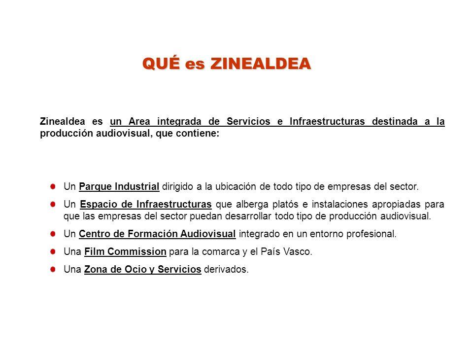 QUÉ es ZINEALDEA Zinealdea es un Area integrada de Servicios e Infraestructuras destinada a la producción audiovisual, que contiene: Un Parque Industrial dirigido a la ubicación de todo tipo de empresas del sector.