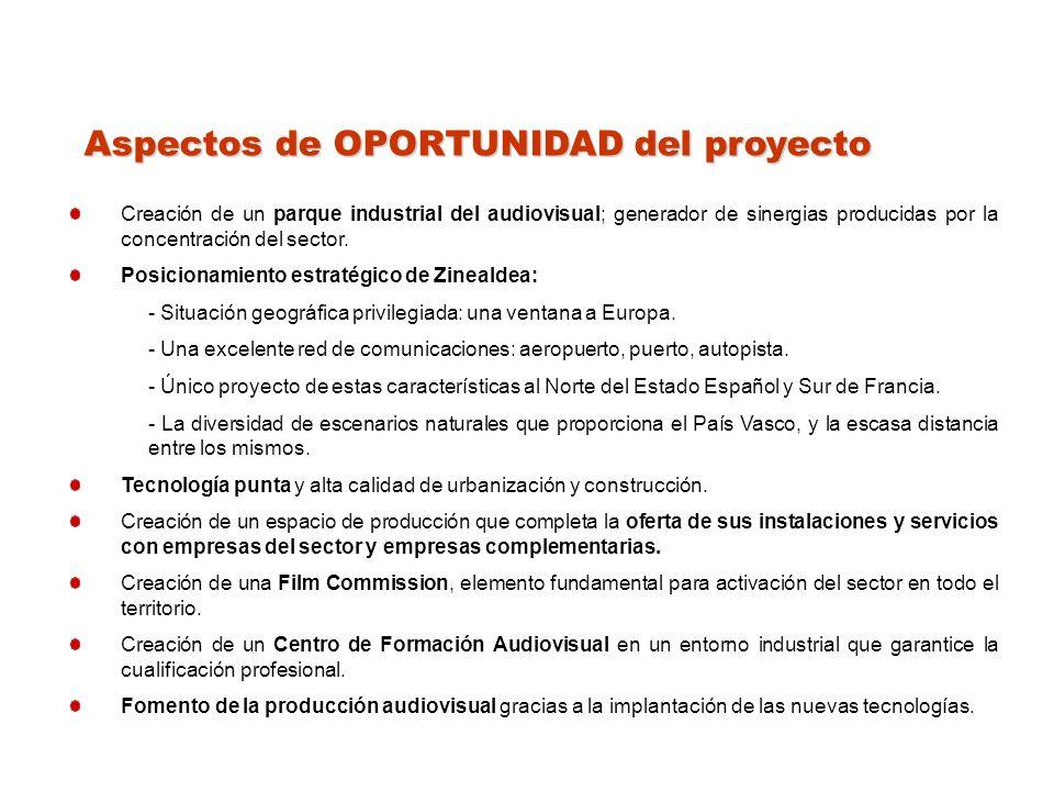 Aspectos de OPORTUNIDAD del proyecto Creación de un parque industrial del audiovisual; generador de sinergias producidas por la concentración del sector.