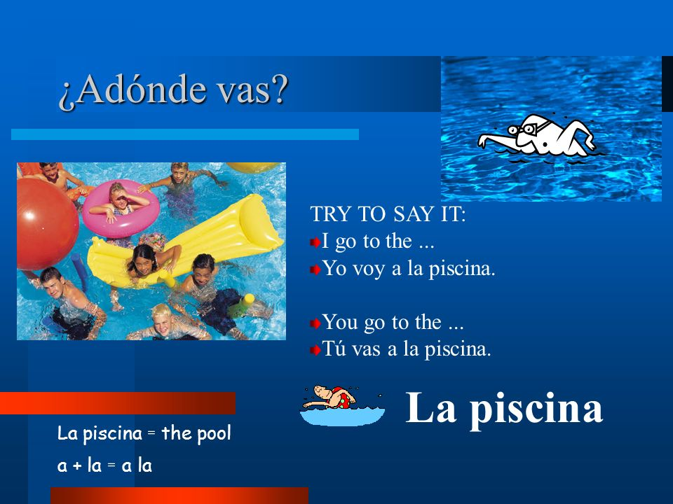 ¿Adónde vas? La piscina = the pool a + la = a la La piscina TRY TO SAY IT: I go to the... Yo voy a la piscina. You go to the... Tú vas a la piscina.