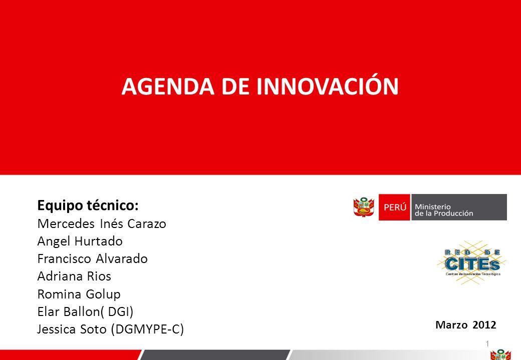 5 Líneas estratégicas de la Agenda de Innovación 1.Fortalecer la vinculación entre el Estado, la academia y las empresas para la promoción de la I+D+i.