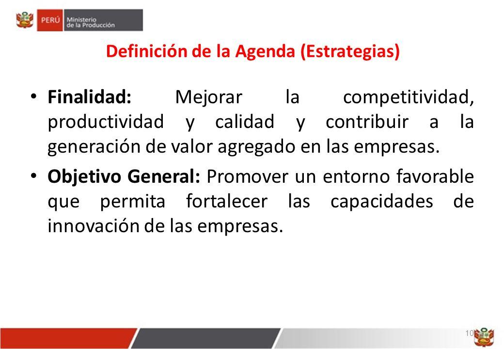 Definición de la Agenda (Estrategias) Finalidad: Mejorar la competitividad, productividad y calidad y contribuir a la generación de valor agregado en las empresas.
