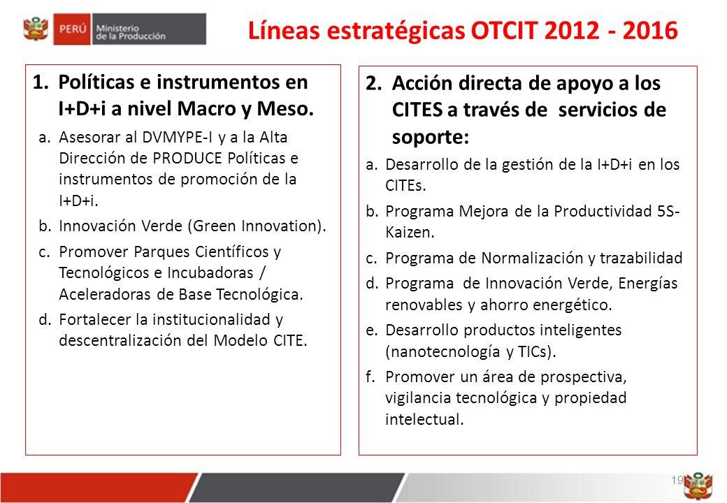 Líneas estratégicas OTCIT 2012 - 2016 1.Políticas e instrumentos en I+D+i a nivel Macro y Meso.