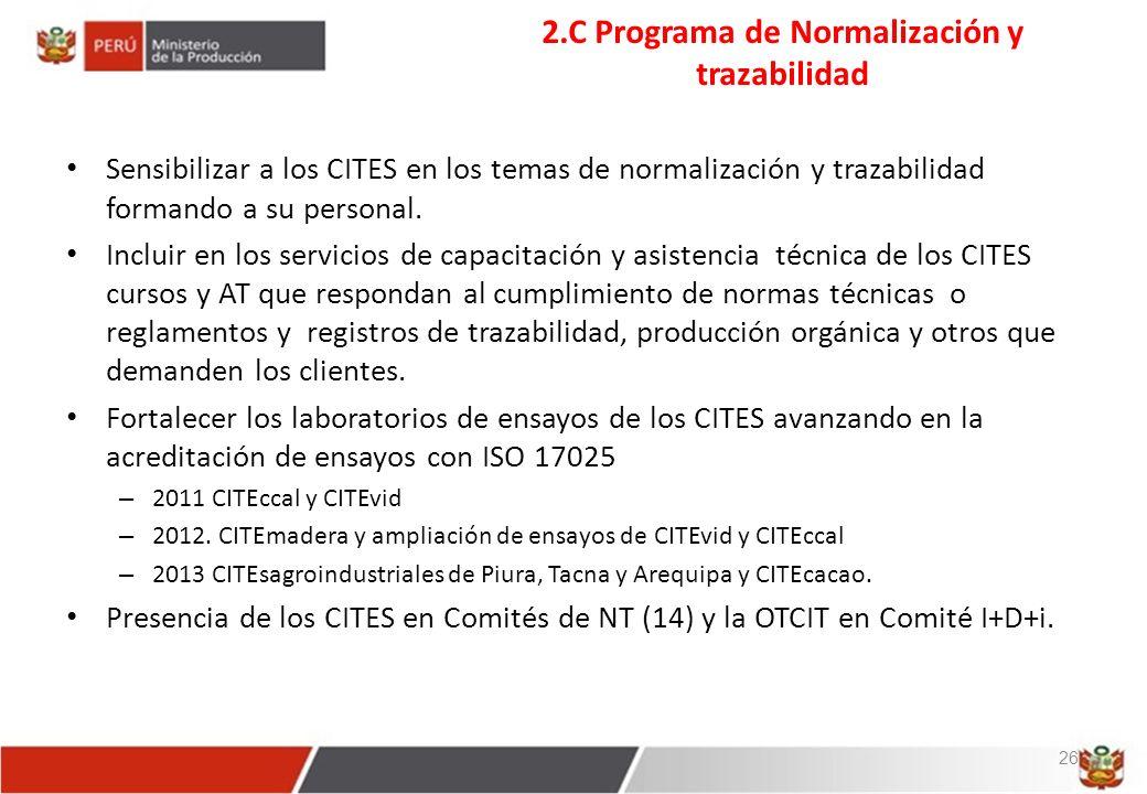2.C Programa de Normalización y trazabilidad Sensibilizar a los CITES en los temas de normalización y trazabilidad formando a su personal.