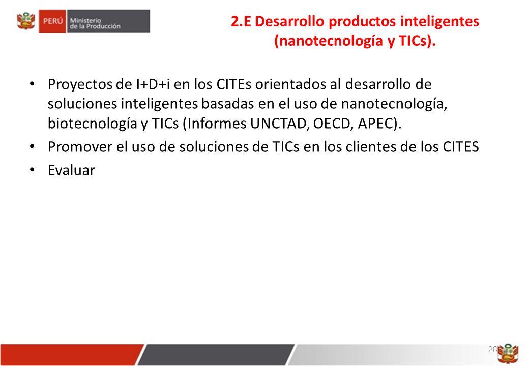 2.E Desarrollo productos inteligentes (nanotecnología y TICs).