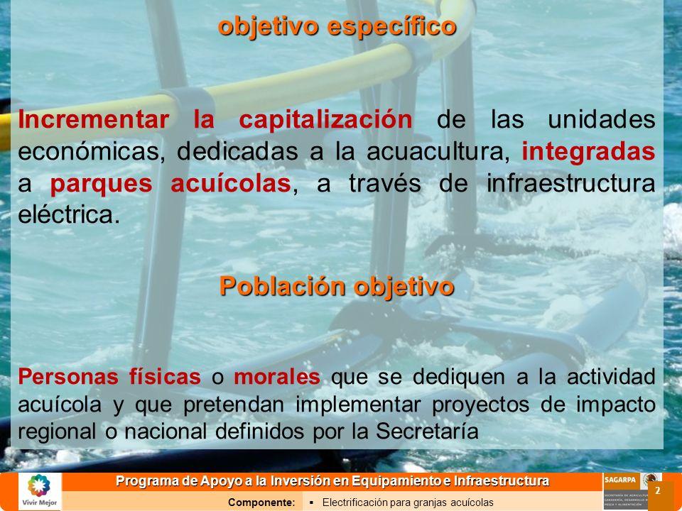 Programa de Apoyo a la Inversión en Equipamiento e Infraestructura Componente: Electrificación para granjas acuícolas 2 objetivo específico Incrementa