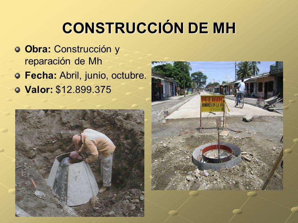 CONSTRUCCIÓN DE MH Obra: Construcción y reparación de Mh Fecha: Abril, junio, octubre.