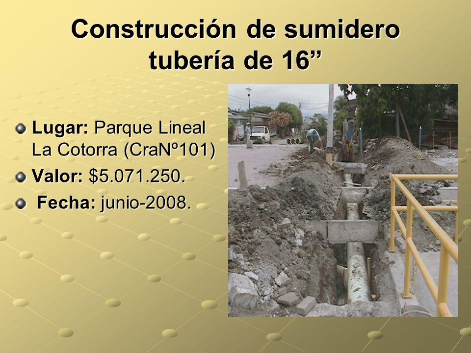 Construcción de sumidero tubería de 16 Lugar: Parque Lineal La Cotorra (CraNº101) Valor: $5.071.250.