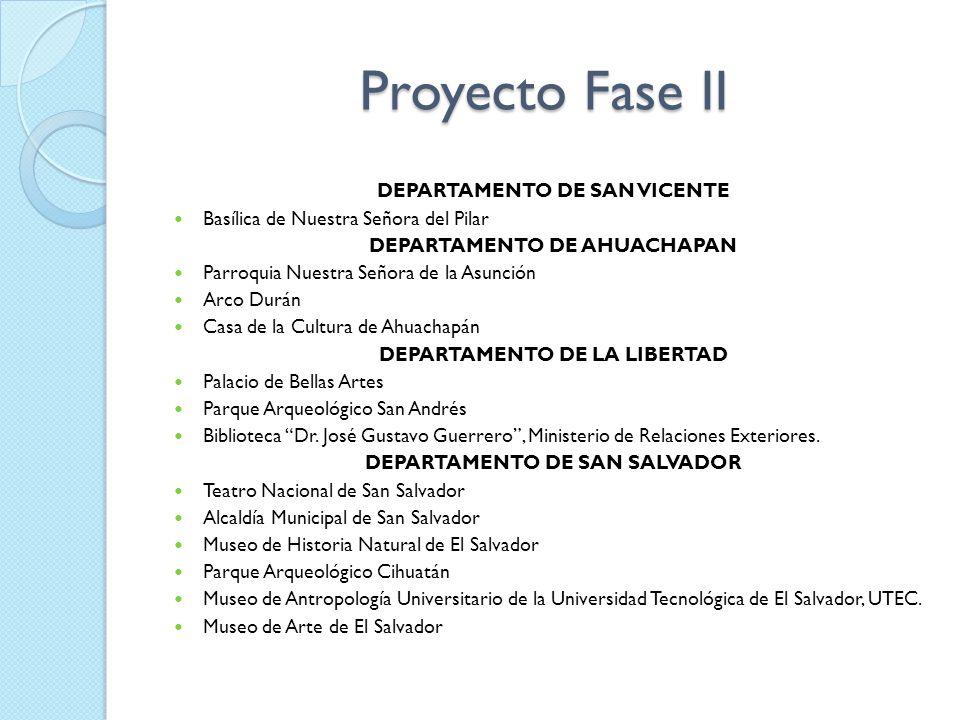 Proyecto Fase II DEPARTAMENTO DE SAN VICENTE Basílica de Nuestra Señora del Pilar DEPARTAMENTO DE AHUACHAPAN Parroquia Nuestra Señora de la Asunción A