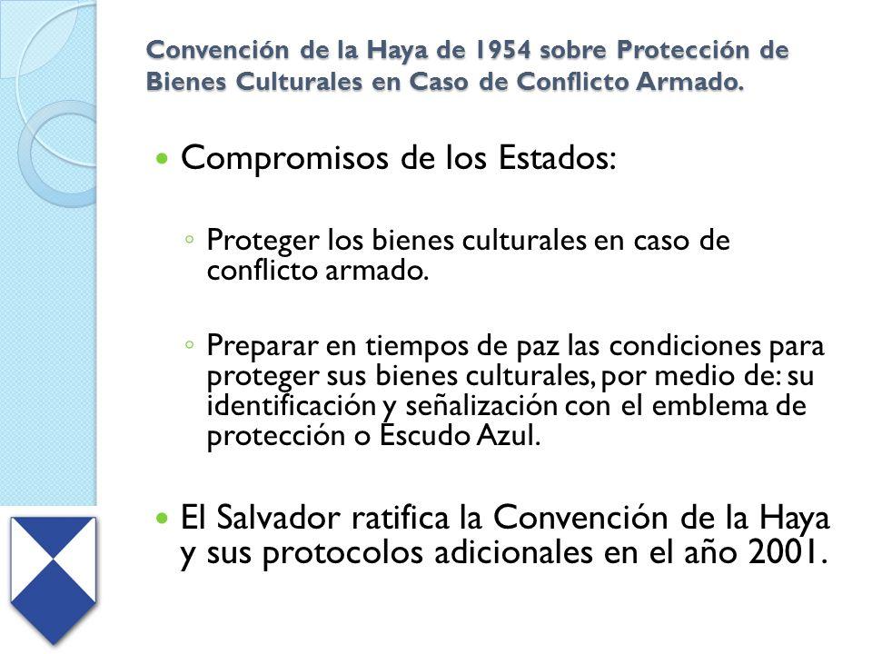 Convención de la Haya de 1954 sobre Protección de Bienes Culturales en Caso de Conflicto Armado. Compromisos de los Estados: Proteger los bienes cultu