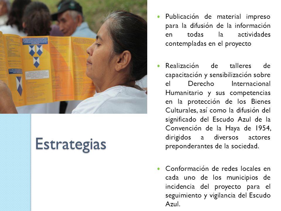 Estrategias Publicación de material impreso para la difusión de la información en todas la actividades contempladas en el proyecto Realización de tall