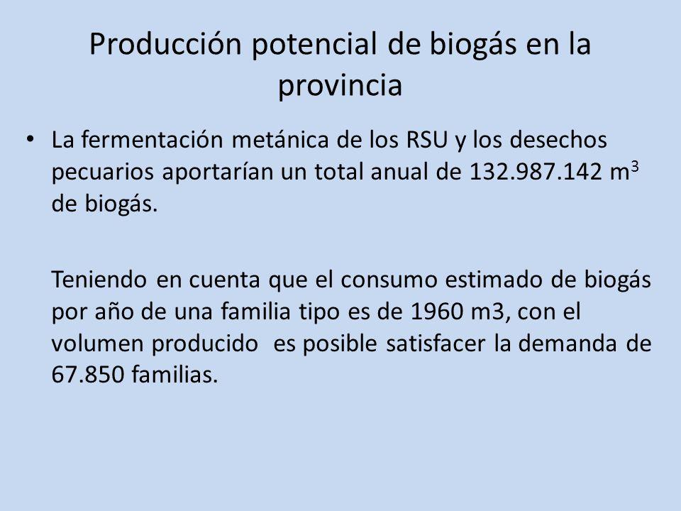 Producción potencial de biogás en la provincia La fermentación metánica de los RSU y los desechos pecuarios aportarían un total anual de 132.987.142 m