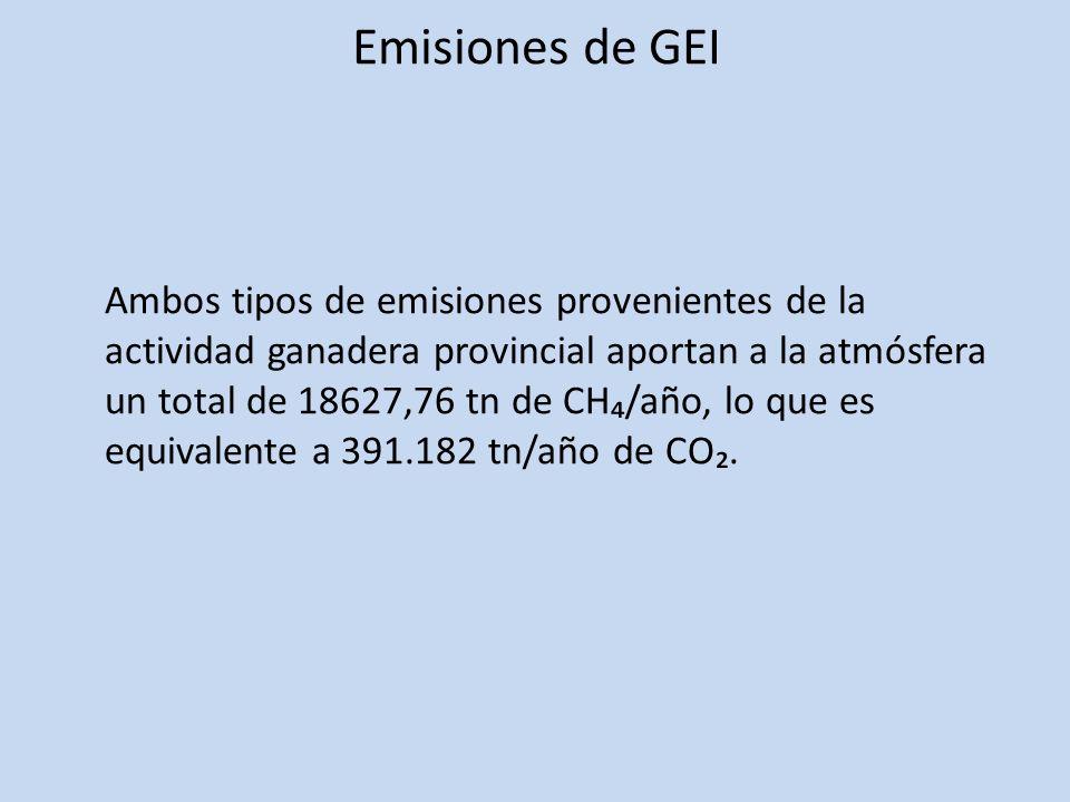 Ambos tipos de emisiones provenientes de la actividad ganadera provincial aportan a la atmósfera un total de 18627,76 tn de CH/año, lo que es equivale
