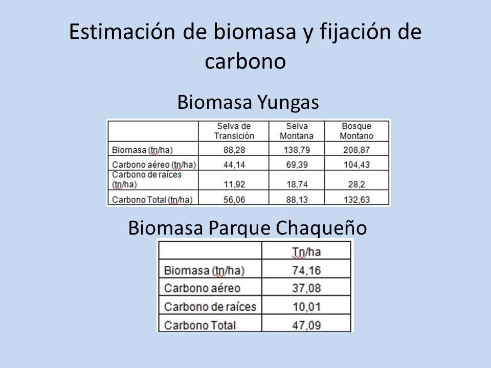 Estimación de biomasa y fijación de carbono Biomasa Yungas Biomasa Parque Chaqueño