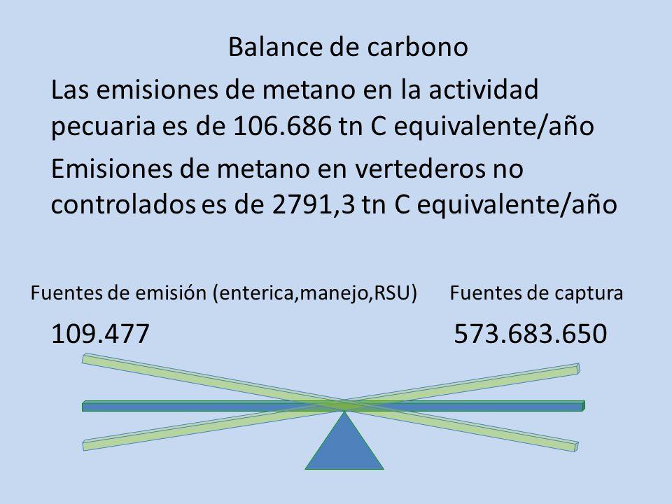 Balance de carbono Las emisiones de metano en la actividad pecuaria es de 106.686 tn C equivalente/año Emisiones de metano en vertederos no controlado