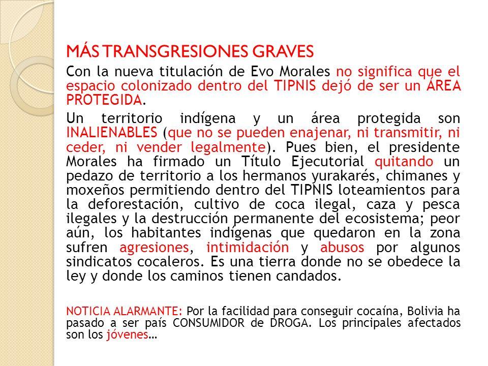 MÁS TRANSGRESIONES GRAVES Con la nueva titulación de Evo Morales no significa que el espacio colonizado dentro del TIPNIS dejó de ser un ÁREA PROTEGID