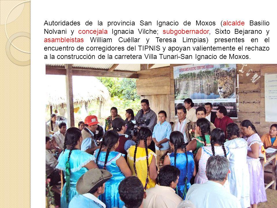 Autoridades de la provincia San Ignacio de Moxos (alcalde Basilio Nolvani y concejala Ignacia Vilche; subgobernador, Sixto Bejarano y asambleistas Wil