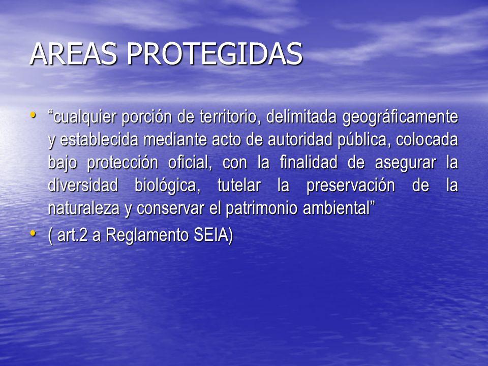 AREAS PROTEGIDAS cualquier porción de territorio, delimitada geográficamente y establecida mediante acto de autoridad pública, colocada bajo protección oficial, con la finalidad de asegurar la diversidad biológica, tutelar la preservación de la naturaleza y conservar el patrimonio ambiental cualquier porción de territorio, delimitada geográficamente y establecida mediante acto de autoridad pública, colocada bajo protección oficial, con la finalidad de asegurar la diversidad biológica, tutelar la preservación de la naturaleza y conservar el patrimonio ambiental ( art.2 a Reglamento SEIA) ( art.2 a Reglamento SEIA)