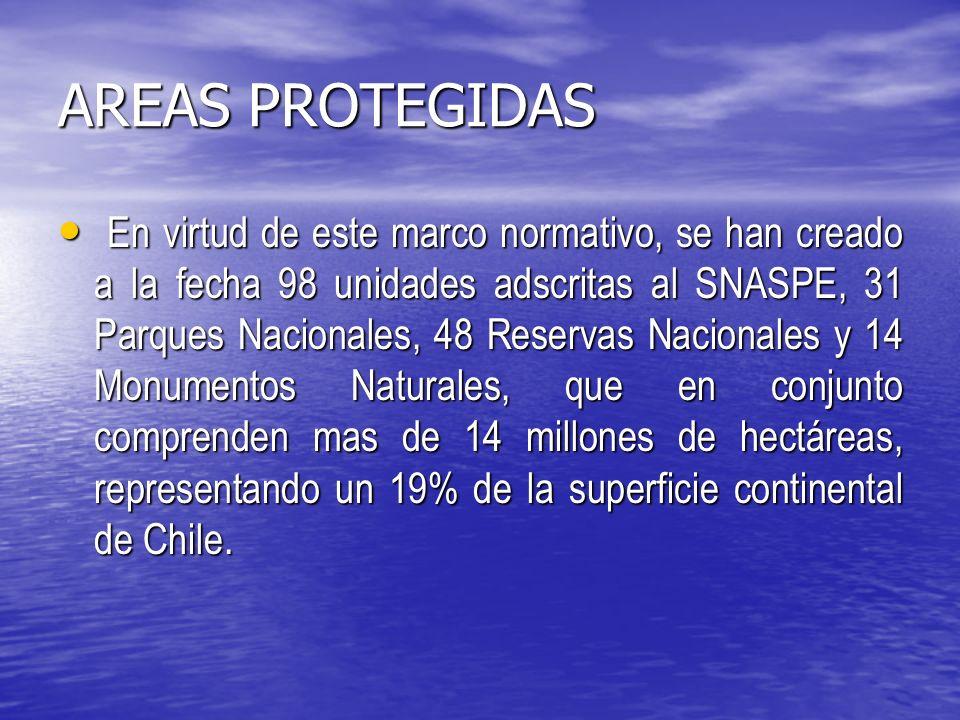AREAS PROTEGIDAS En virtud de este marco normativo, se han creado a la fecha 98 unidades adscritas al SNASPE, 31 Parques Nacionales, 48 Reservas Nacionales y 14 Monumentos Naturales, que en conjunto comprenden mas de 14 millones de hectáreas, representando un 19% de la superficie continental de Chile.