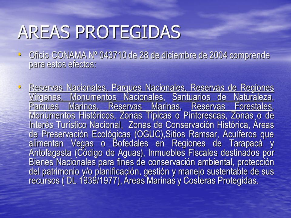 AREAS PROTEGIDAS Oficio CONAMA Nº 043710 de 28 de diciembre de 2004 comprende para estos efectos: Oficio CONAMA Nº 043710 de 28 de diciembre de 2004 comprende para estos efectos: Reservas Nacionales, Parques Nacionales, Reservas de Regiones Vírgenes, Monumentos Nacionales, Santuarios de Naturaleza, Parques Marinos, Reservas Marinas, Reservas Forestales, Monumentos Históricos, Zonas Típicas o Pintorescas, Zonas o de Interés Turístico Nacional, Zonas de Conservación Histórica, Áreas de Preservación Ecológicas (OGUC),Sitios Ramsar, Acuíferos que alimentan Vegas o Bofedales en Regiones de Tarapacá y Antofagasta (Código de Aguas), Inmuebles Fiscales destinados por Bienes Nacionales para fines de conservación ambiental, protección del patrimonio y/o planificación, gestión y manejo sustentable de sus recursos ( DL 1939/1977), Áreas Marinas y Costeras Protegidas.