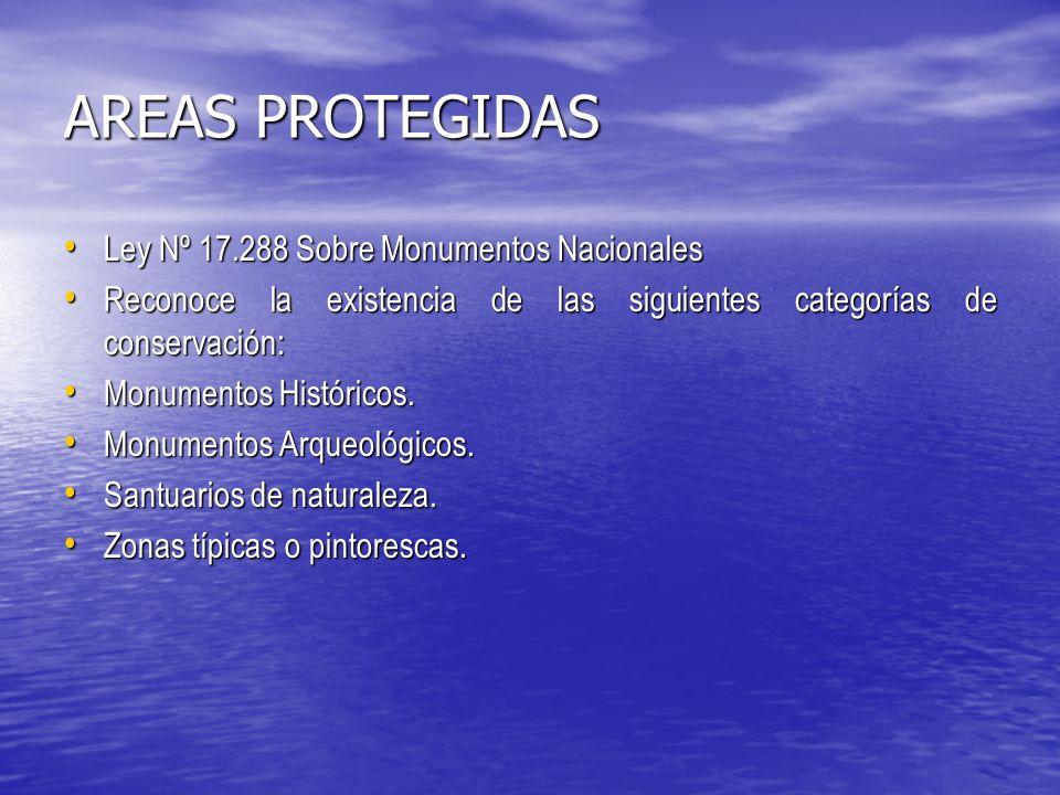 AREAS PROTEGIDAS Ley Nº 17.288 Sobre Monumentos Nacionales Ley Nº 17.288 Sobre Monumentos Nacionales Reconoce la existencia de las siguientes categorías de conservación: Reconoce la existencia de las siguientes categorías de conservación: Monumentos Históricos.