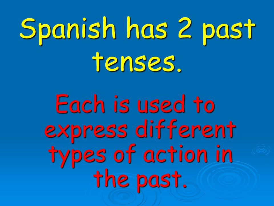 El imperfecto is used for: Actions that were on going in the past.